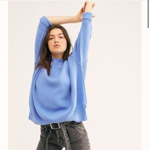 NEW free people easy street tunic sweater blue S